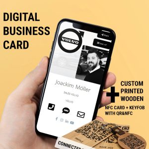 NFC DIGITAL BUSINESS CARD WITH WOODEN NFC/QR CARD AND KEYFOB