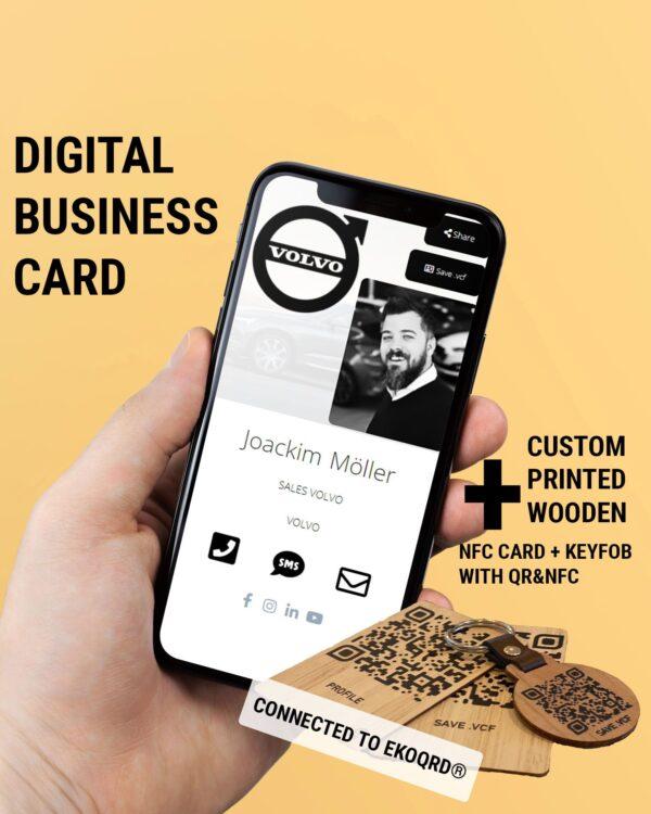 NFC DIGITALT VISITKORT MED NFC/QR-KORT OCH NYCKELKNIPPA I TRÄ